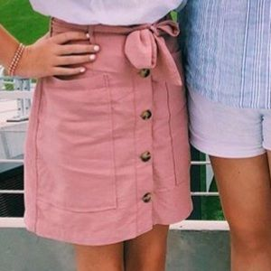 Button down dusty pink skirt